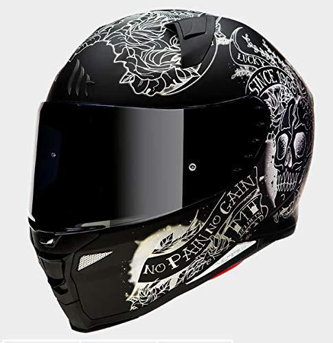 Mt Helmets Revenge 2 Skull & Roses A1 Matt Black XL