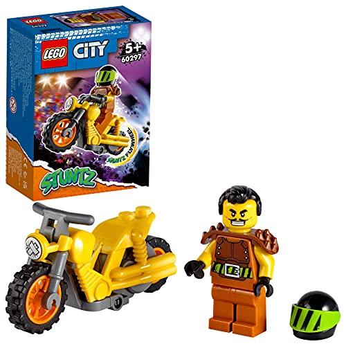 LEGO 60297 City Stuntz Moto Acrobática: Demolición, Juguete con Moto con Rueda de Inercia y Mini Figura del Piloto para Niños 5 años
