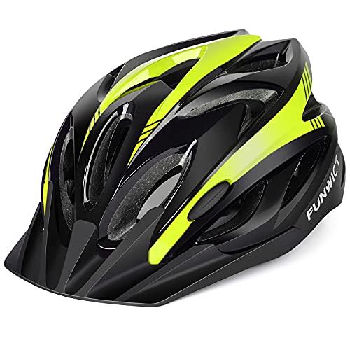 FUNWICT Casco Bicicleta Adulto Casco Ciclismo Montaña Ajustable con Visera Respirable Casco MTB para Hombre Mujer Tamaño 57-61 CM (Amarillo Negro)