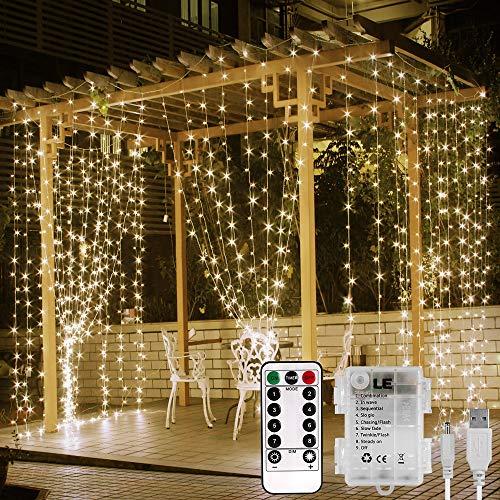 Lepro Cortina Luces LED 3x3m 300 LED, USB o PILAS, Cadena de Luces Blanco cálido, 8 Modos Luz, Impermeable Interior y Exterior, Luz de Hadas Intensidad Regulable, Decoración de Fiesta, Navidad, Balcón
