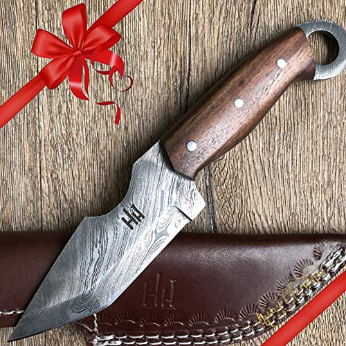 Hobby Hut HH-301, Cuchillo de Caza de Damasco de 9,5 Pulgadas Hecho a Mano Personalizado - Hoja Fija de Espiga Completa, Mango de Madera de Nogal - Funda de Cuero