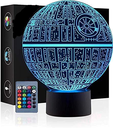 3D Ilusión óptica Lámpara LED Luz de noche Deco LED Lámpara 7 colores de control remoto con Acrílico Plano & ABS Base & Cargador usb